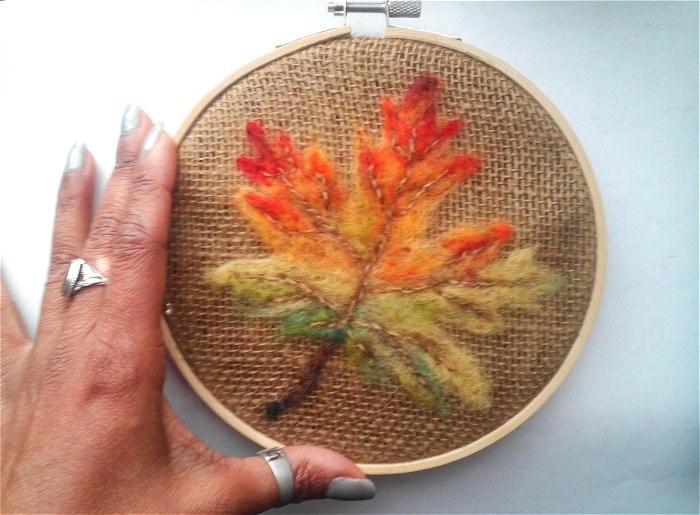 """Fall Leaf Needle Felting"" original fine art by Camille Morgan"