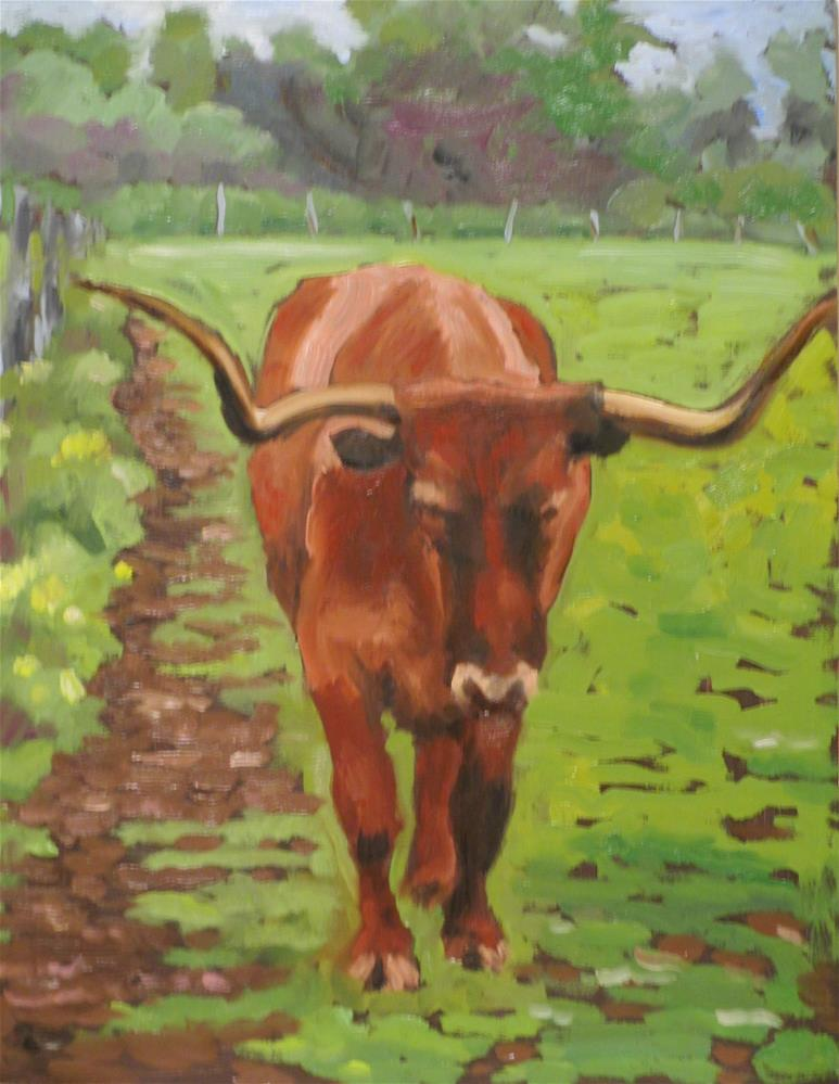 """Bull Dozer"" original fine art by Judy Elias"