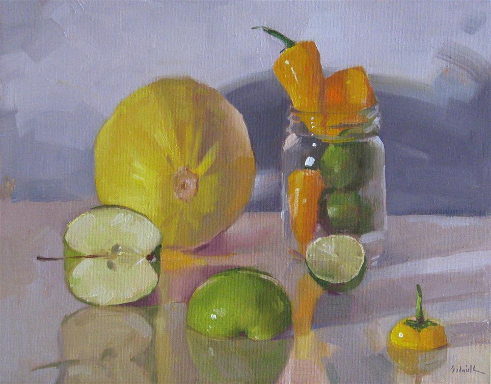 """Arrangement in Yellow and Green still life oil painting food vegetable fruit kitchen art"" original fine art by Sarah Sedwick"