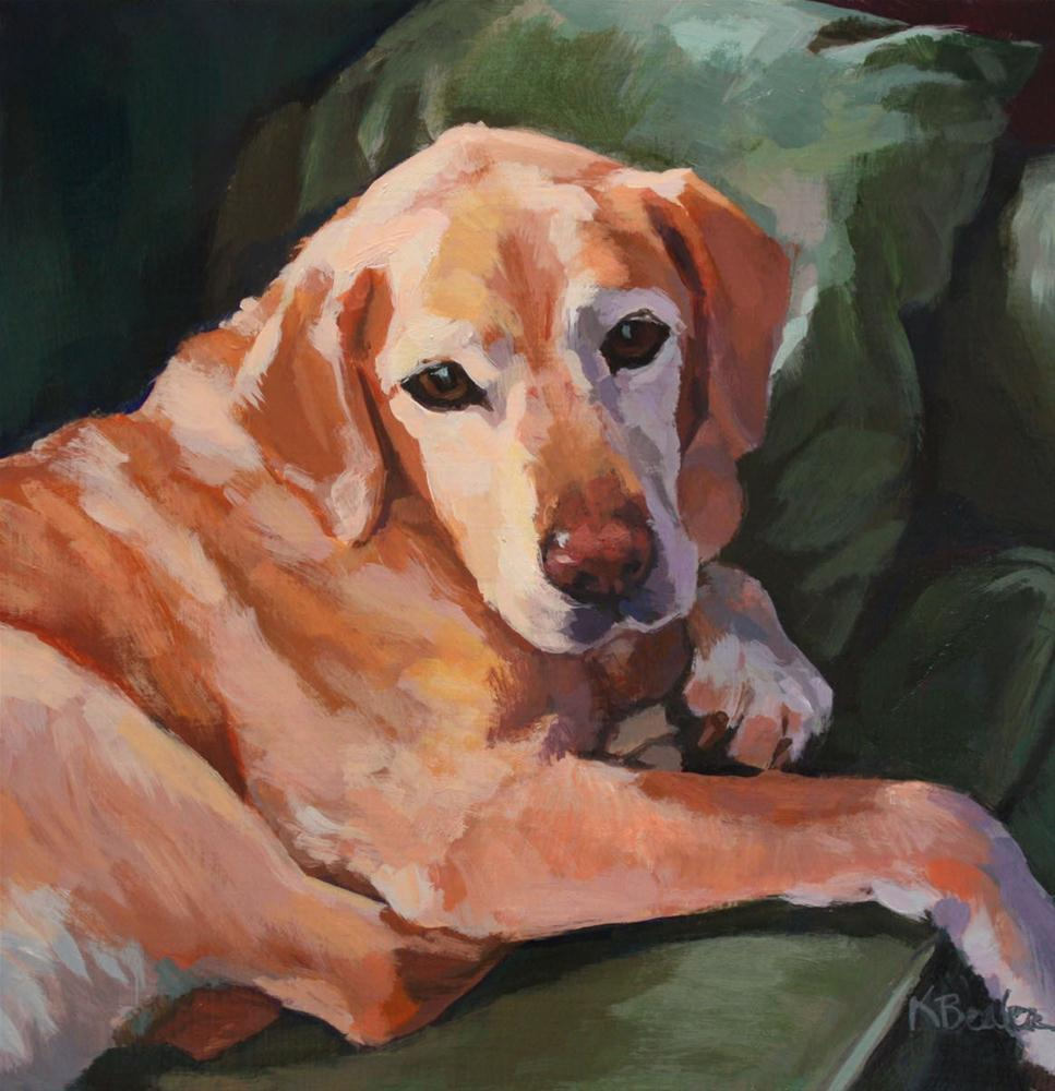 """Yellow Lab on Green Couch"" original fine art by Kaethe Bealer"