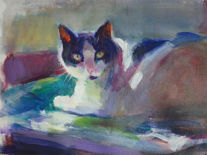 """Cookie Looking"" original fine art by Sharon Savitz"