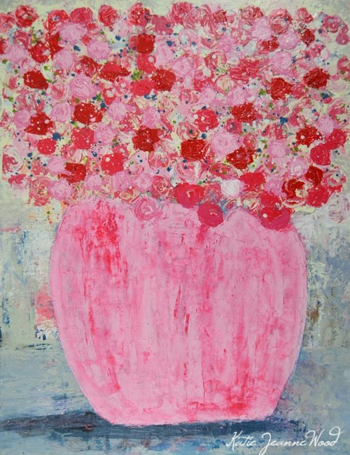 """Pink cottage chic floral painting No 134"" original fine art by Katie Jeanne Wood"