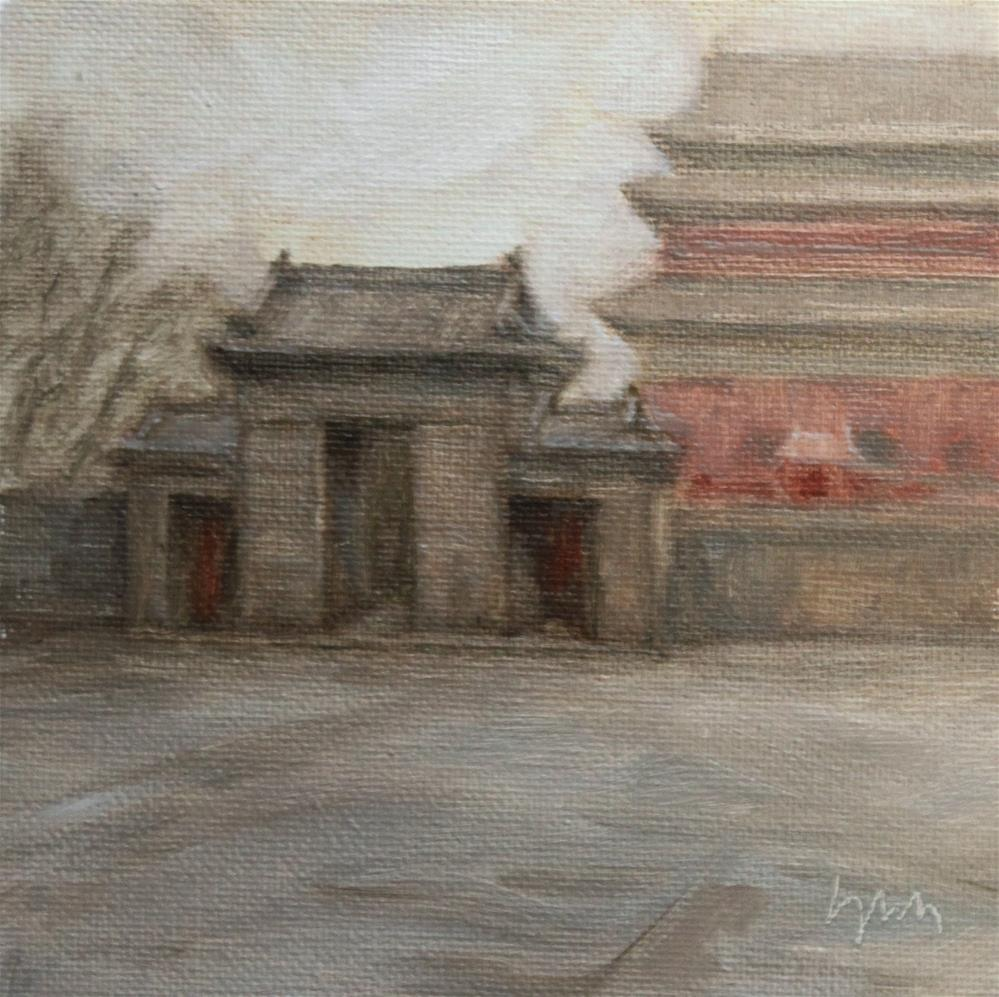 """Gatehouse"" original fine art by Yuehua He"