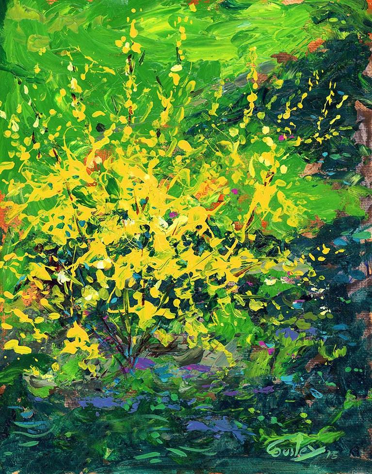 """Forsythia Bush Painting"" original fine art by Chris Ousley"