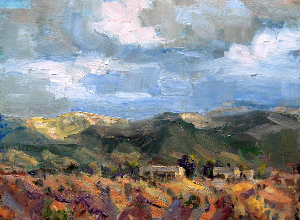 """Storm Over the Tesuque Hills"" original fine art by Julie Ford Oliver"