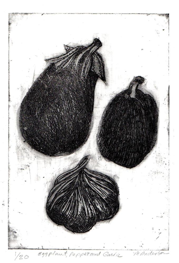 """Eggplant, Pepper and Garlic"" original fine art by Mary Anderson"