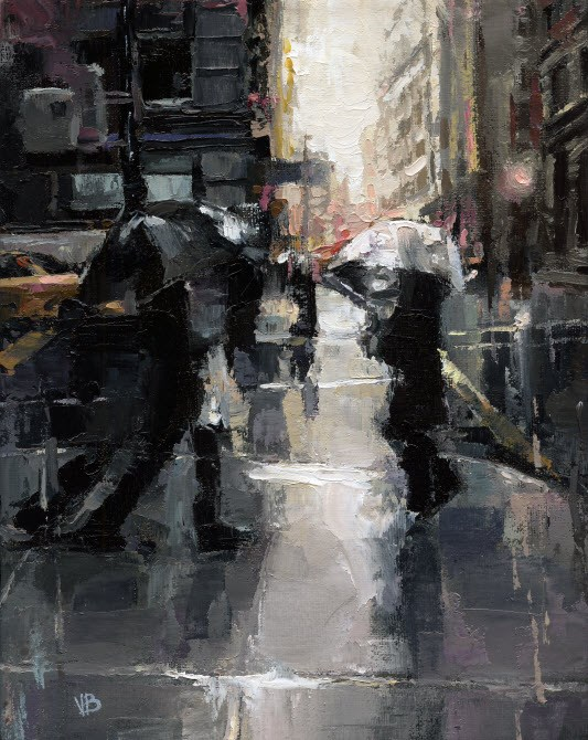 """Rainy Day in New York"" original fine art by Victor Bauer"