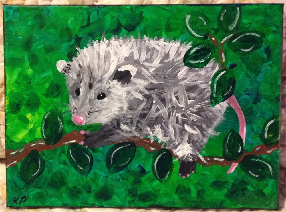 """Opossum, Totem Animal"" original fine art by Kali Parsons"
