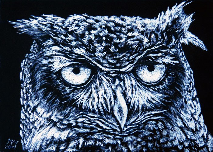 """Whoo R U"" original fine art by Monique Morin Matson"