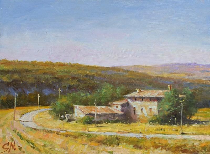 """French farmhouse and field Aix-en-Provence"" original fine art by Nick Sarazan"