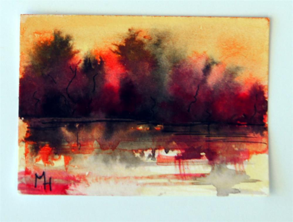 """Lake Sunset Abstract ACEO"" original fine art by Marion Hedger"