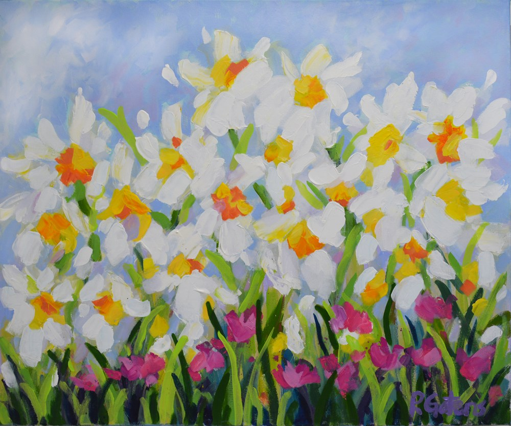 """White Daffodil Meadow"" original fine art by Pamela Gatens"