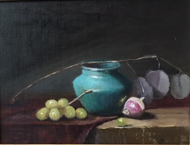 """Turquoise Pot with Turnip"" original fine art by Cheryl J Smith"