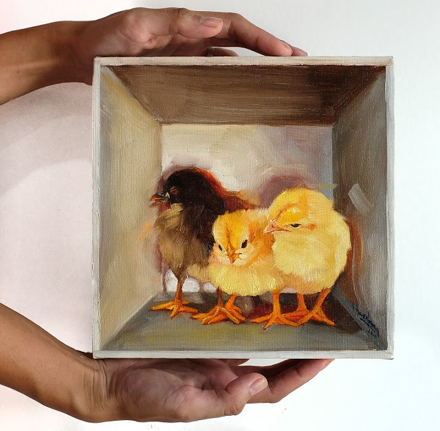 """Three Chicks in a box"" original fine art by Haze Long"