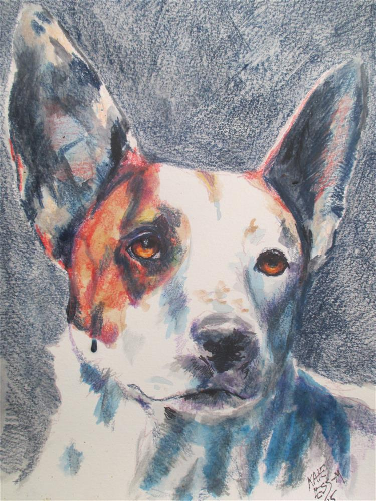 """Aggie, Shelter Dog"" original fine art by Kate Less-Madsen"