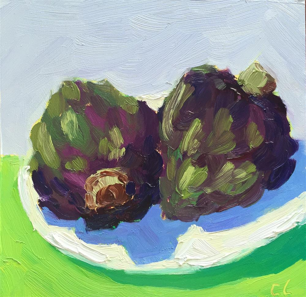 """Artichoke friends"" original fine art by Cheree Apalona Lueck"