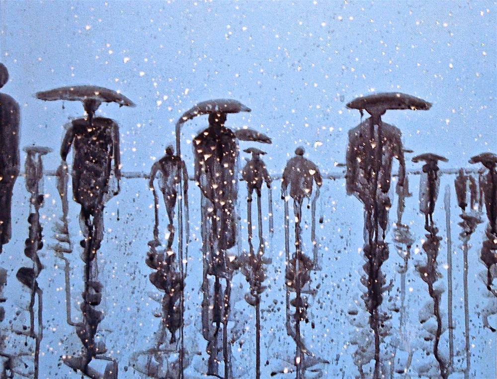 """people in the rain 8 rain city"" original fine art by michael vigneux"