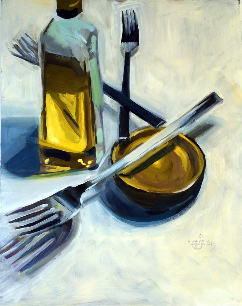 """""""O - is for Olive Oil"""" original fine art by Suzanne Gysin"""