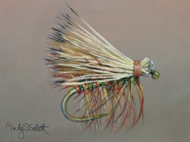 """Fly 8 - Elk Hair Caddis"" original fine art by Cindy Gillett"