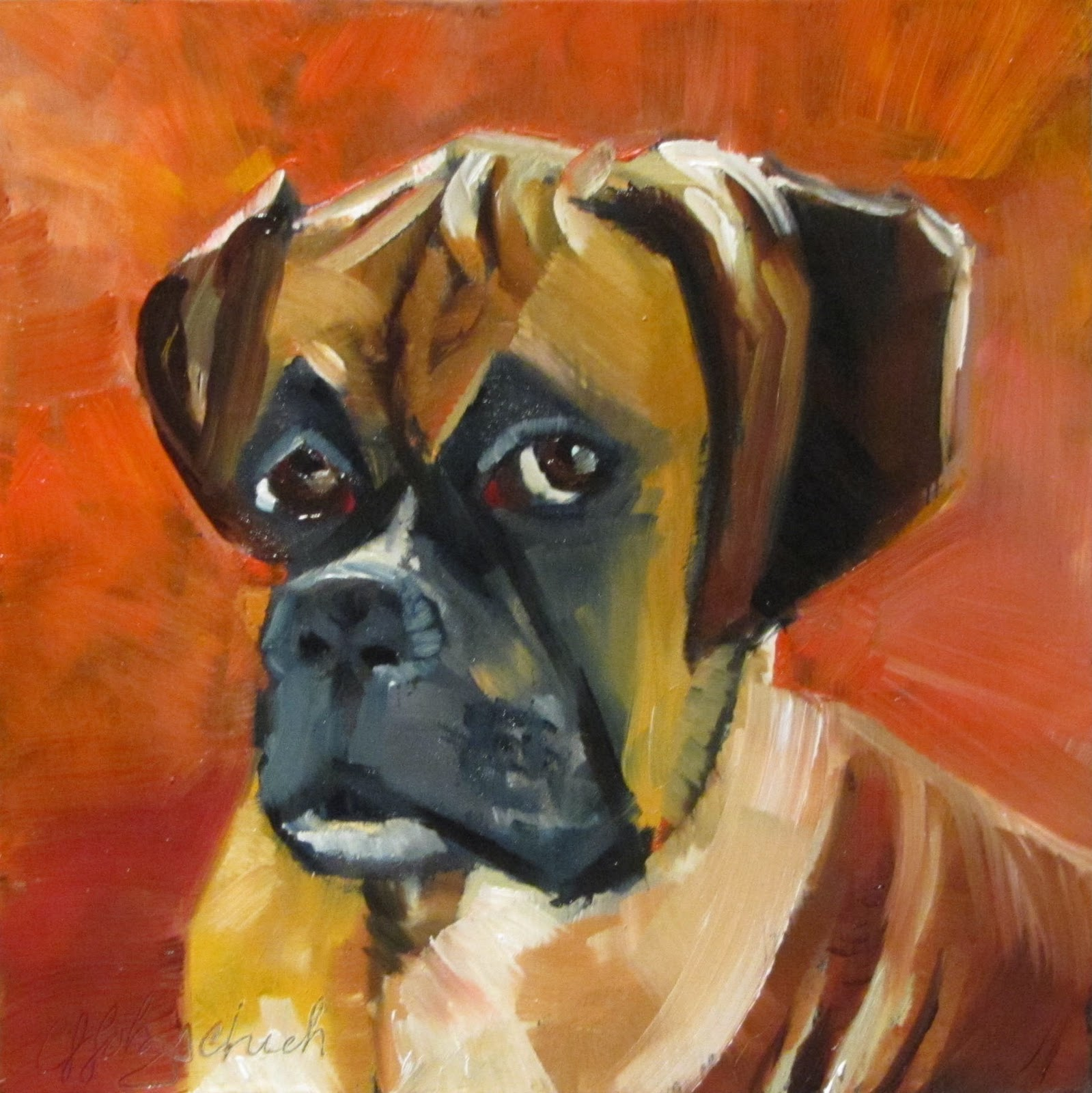 """Jackson 1  oil 6x6  animal portrait sold #367"" original fine art by Christine Holzschuh"