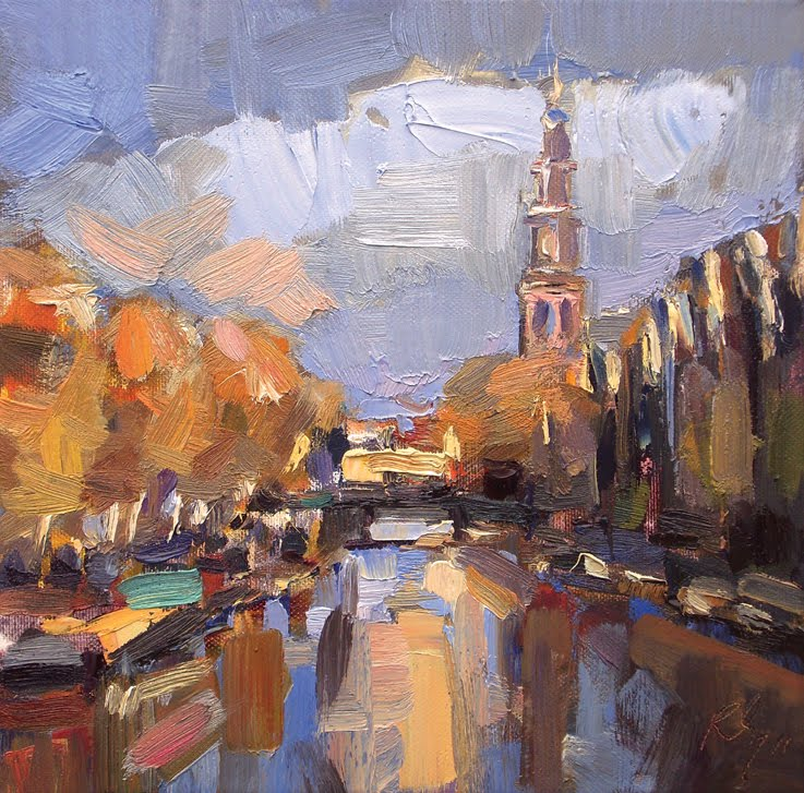 """Amsterdam in autumn II"" original fine art by Roos Schuring"