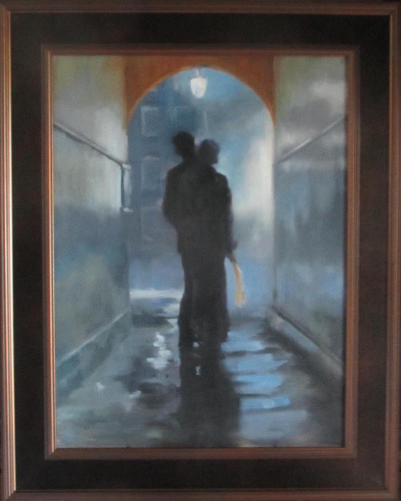 """The Stolen Kiss"" original fine art by Linda Carney"