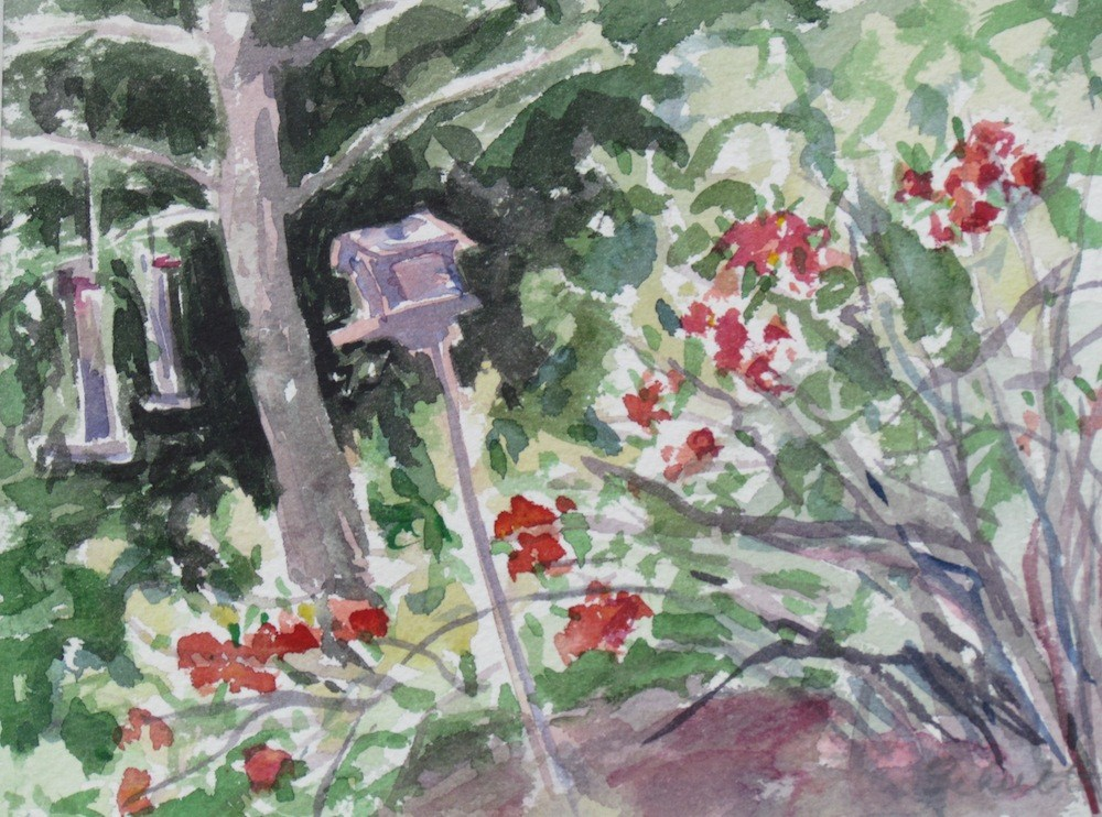 """Quince and Bird Feeders (matted)"" original fine art by Lynne Schulte"