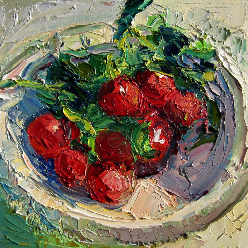 """Radishes in a Shallow Bowl"" original fine art by Carol Steinberg"