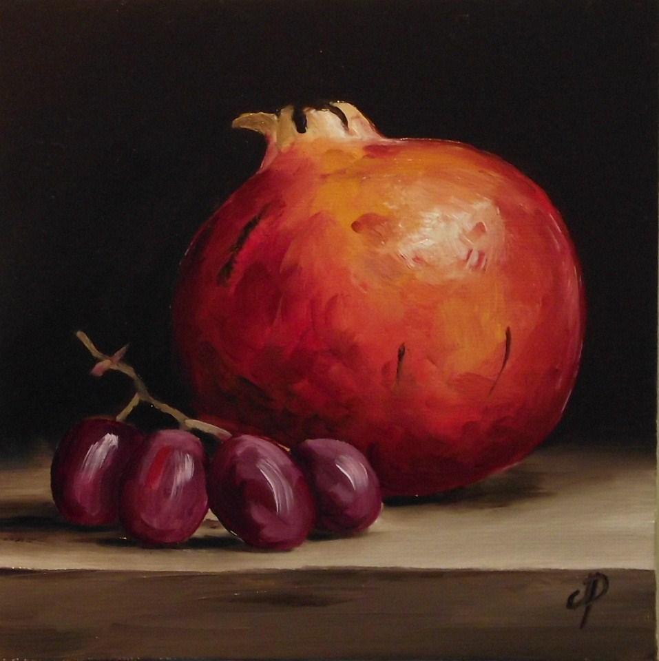 """Pomegranate and Grapes"" original fine art by Jane Palmer"