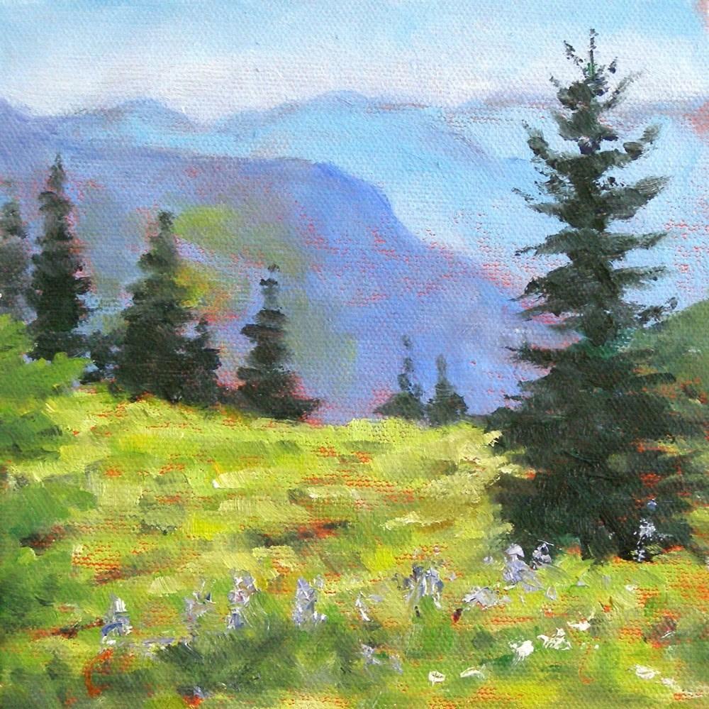 """Cascade Mountains, 6x6 Oil on Canvas Board"" original fine art by Carmen Beecher"