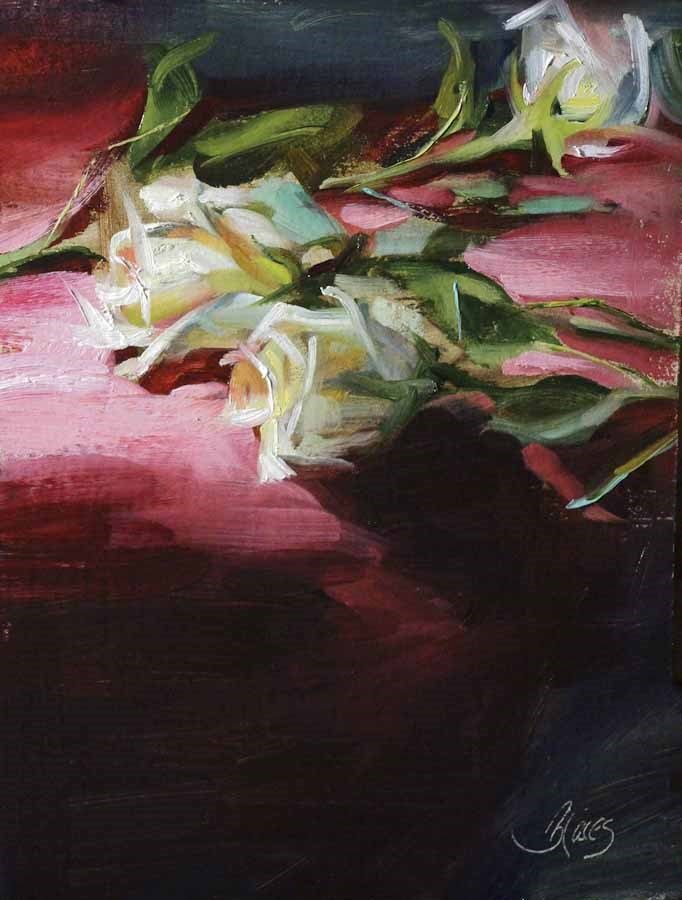 """Fuchsia and Roses"" original fine art by Pamela Blaies"