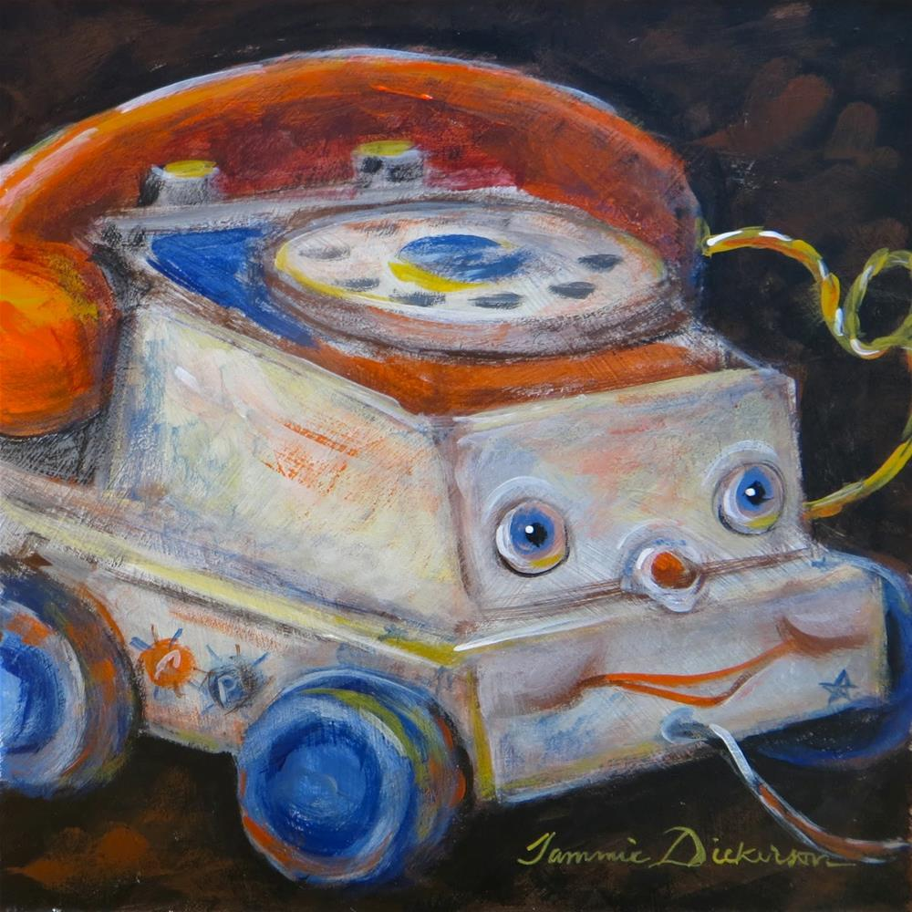 """Telephone Pull Toy"" original fine art by Tammie Dickerson"