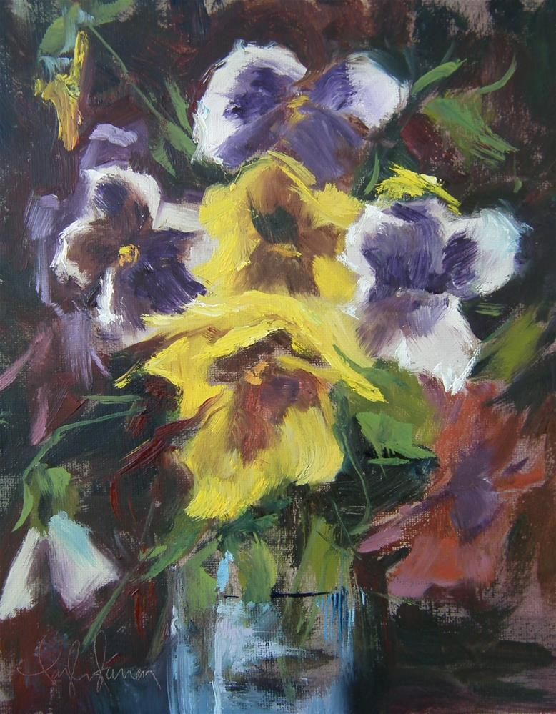 """Pansy in the Blue Glass"" original fine art by kay  keyes farrar"