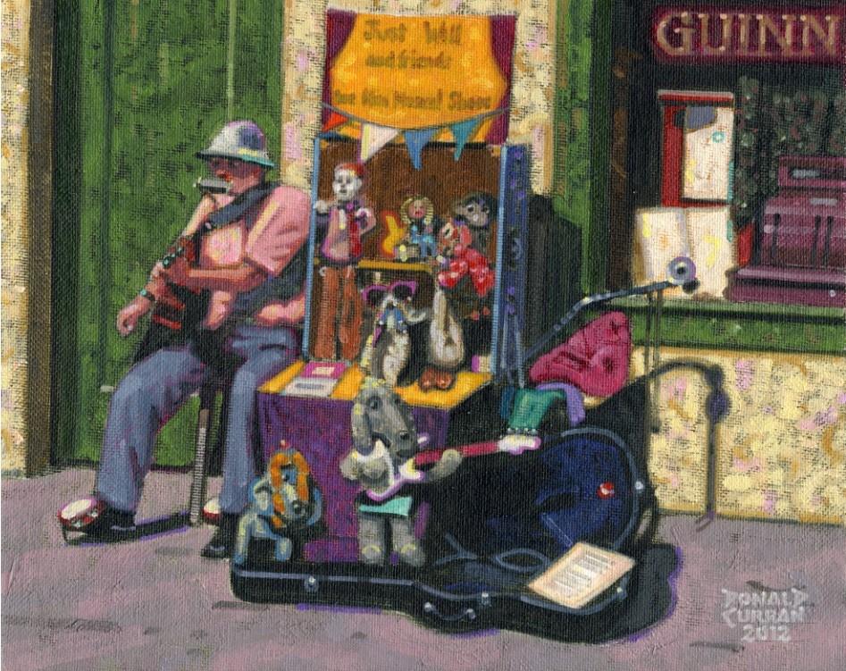 """Irish Busker"" original fine art by Donald Curran"