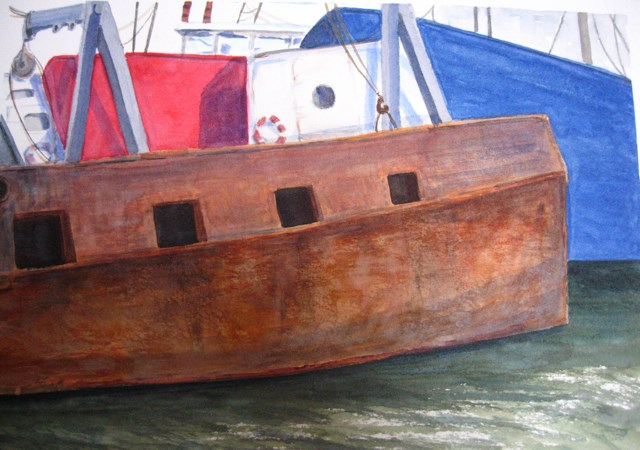 """Old Scow"" original fine art by Judith Freeman Clark"