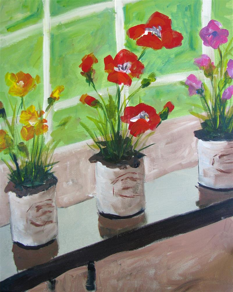 """Poppies in the Windowsill"" original fine art by Susan Elizabeth Jones"