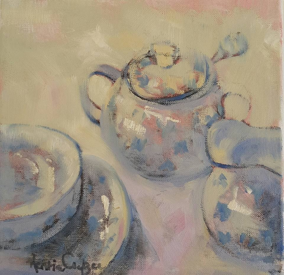"""Tea for one"" original fine art by Rentia Coetzee"