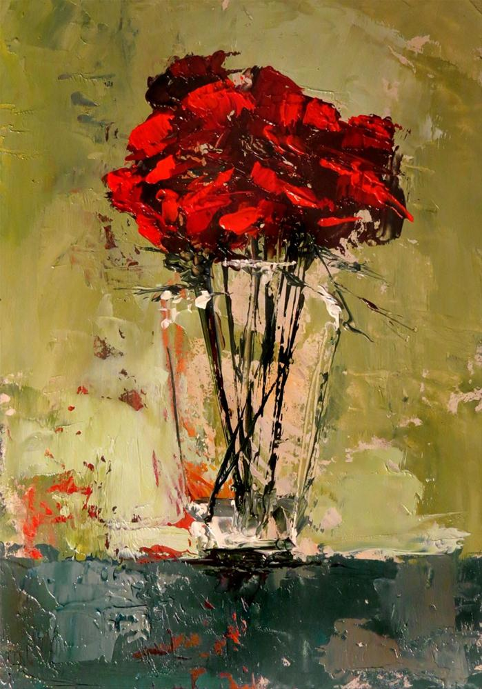 """A Vase of Roses"" original fine art by Bob Kimball"