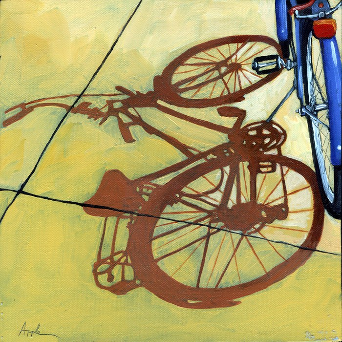 """The Blues - bicycle series painting"" original fine art by Linda Apple"