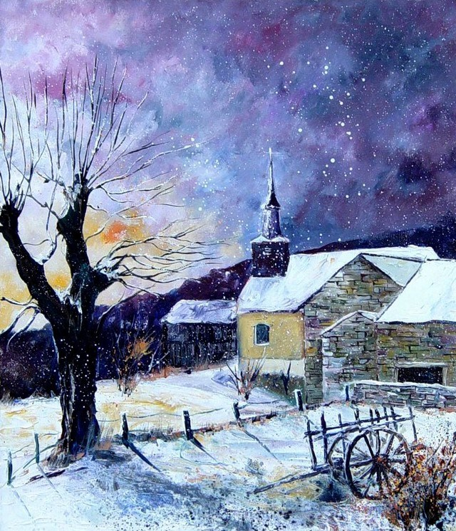 """snow in laforet"" original fine art by Pol Ledent"
