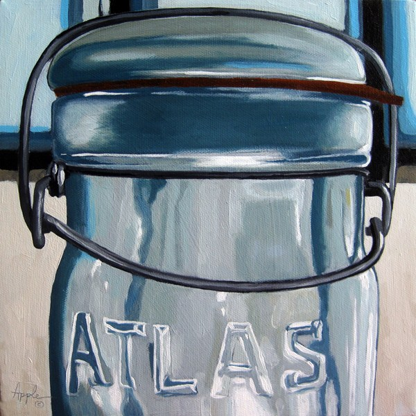 """Old Atlas Canning realistic still life oil painting"" original fine art by Linda Apple"