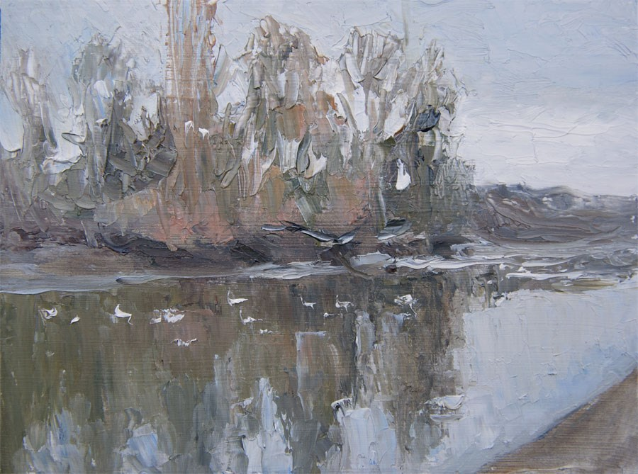 """Thames Reflection"" original fine art by Jethro Knight"