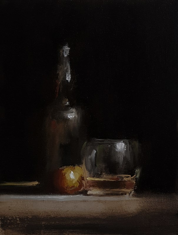 """Arrangement with Whiskey"" original fine art by Neil Carroll"