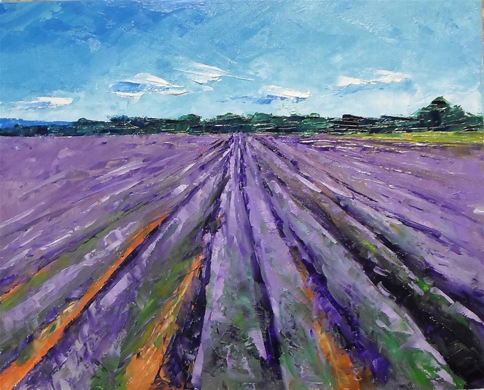 """8 x 10 inch oil Lavender Fields"" original fine art by Linda Yurgensen"