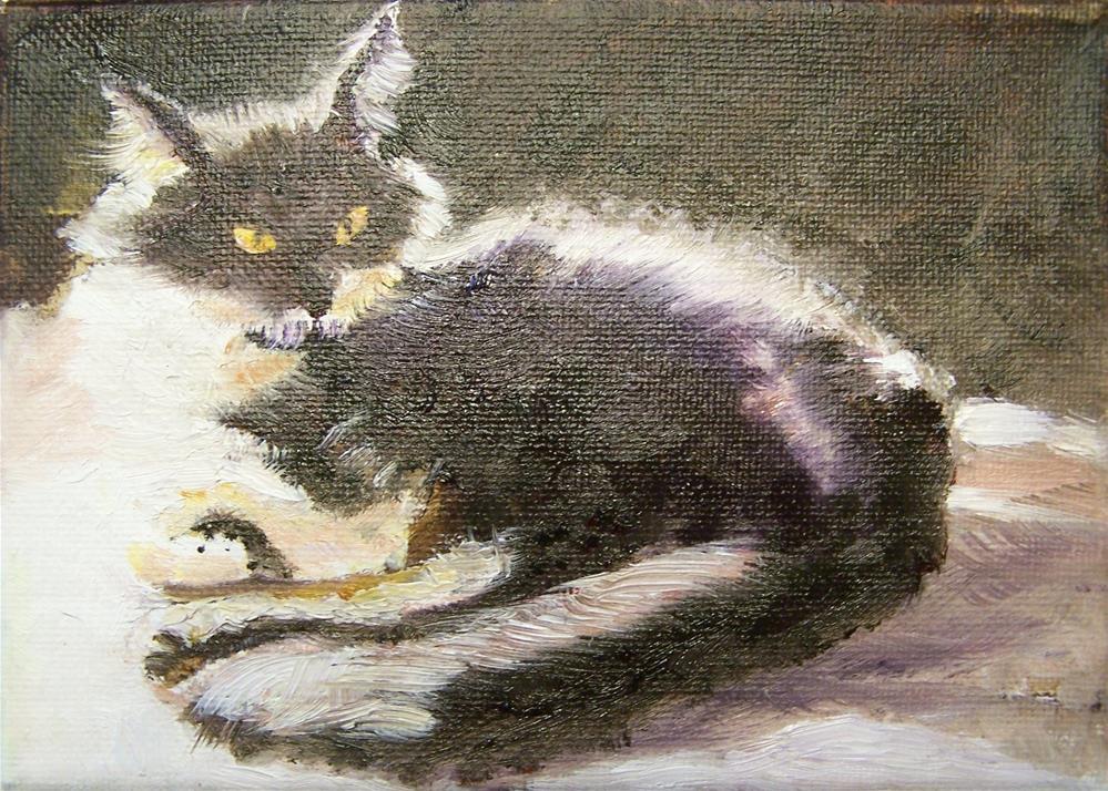 """Tasha enjoying the sun"" original fine art by Elaine Evans"