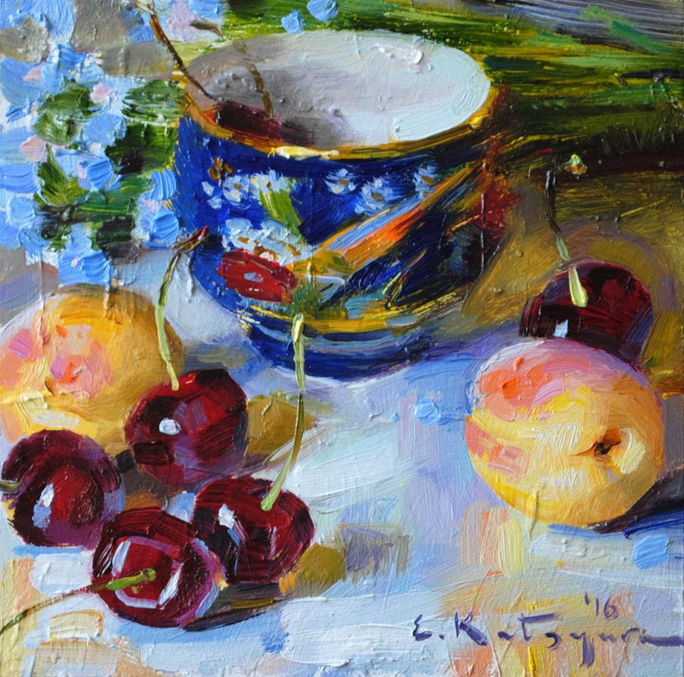 """Chinese Cup and Fruit"" original fine art by Elena Katsyura"