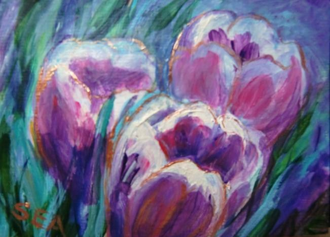 """3037 - Matted - MAGENTA TULIPS ACEO"" original fine art by Sea Dean"