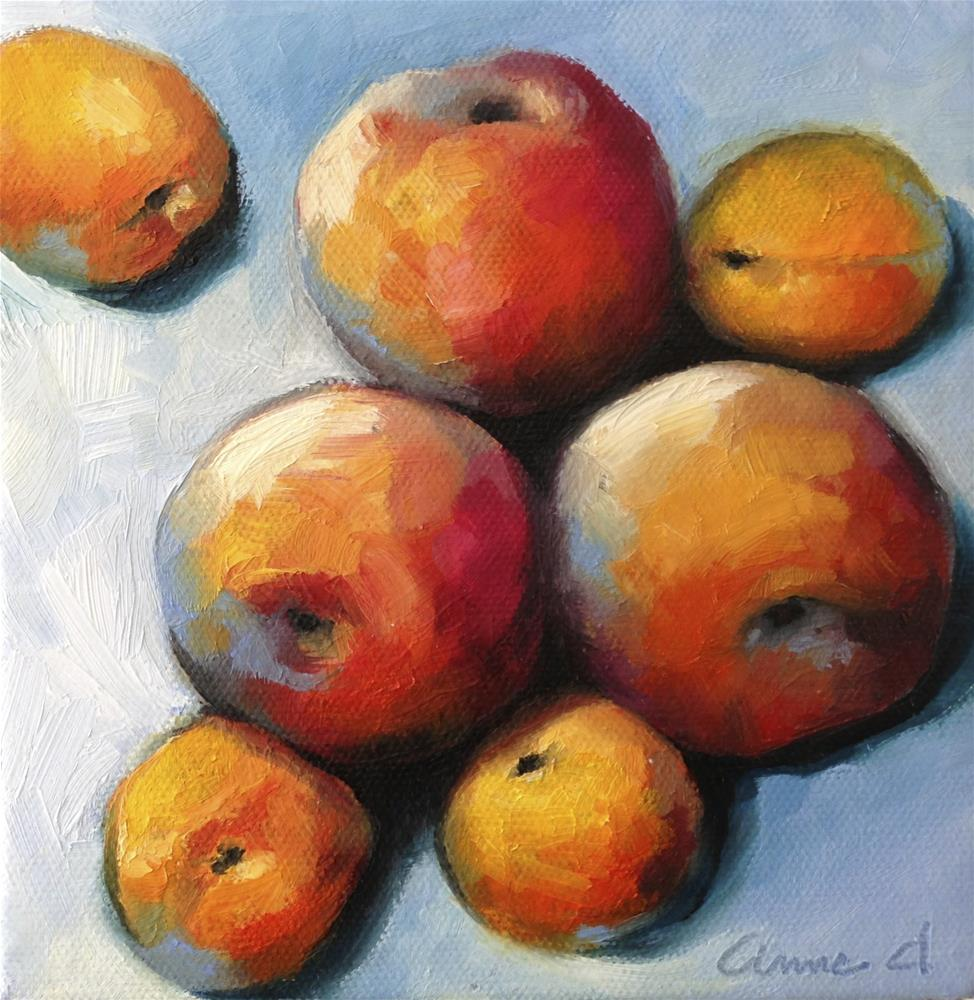 """Peach Cuddle with Apricots"" original fine art by Anne Ducrot"