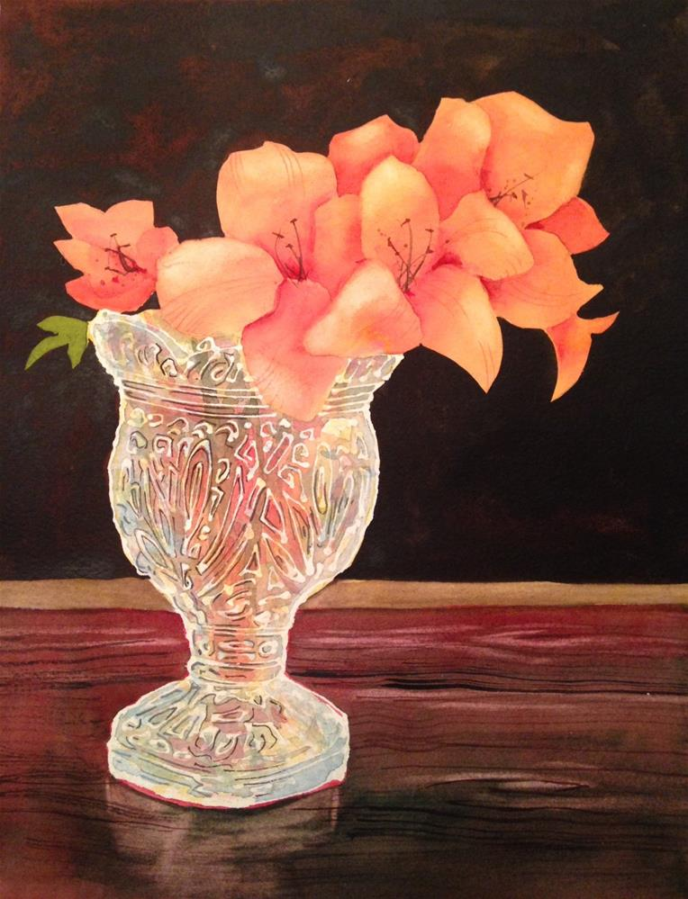 """Flowers in Crystal Vase"" original fine art by Margie Whittington"
