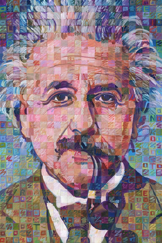"""Albert Einstein With Pipe #2"" original fine art by Randal Huiskens"